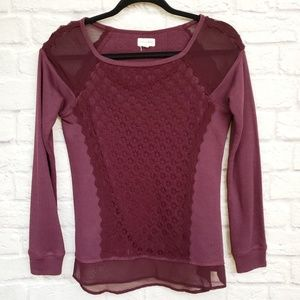 Maison Jules Plum Purple Long Sleeve Top with Lace